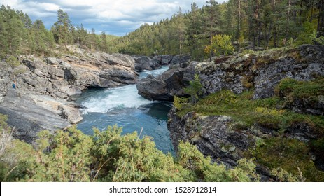 The Knight's Leap norway river landscape Ridderspranget