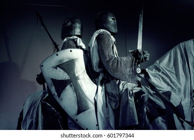 Knights Templar with armor on horse, history and war