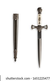 Knights Templar Replica Dagger Blade and Sheath Bearing Knights Templar Cross to Handle and Scabbard.  Reproduction of Bladed Weapon from the Medieval Period Clipping Work Paths Included in JPEG