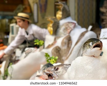 KNIGHTSBRIDGE, LONDON - JUNE 4, 2018: Fish on ice for sale from the Fishmonger at the Harrods Food Court in Knightsbridge, London, UK.