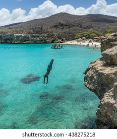 Knip Becah and cliff jumpers  Curacao views a small Caribbean Island in the Dutch Antilles