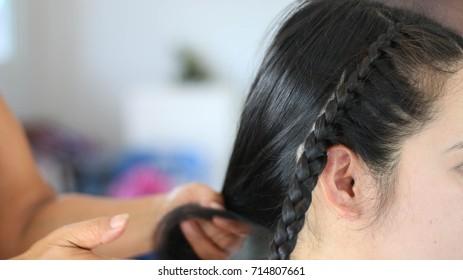 Knit braid hair,Beauty salon, haircut,