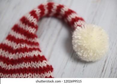 Knit Christmas hat with pom pom