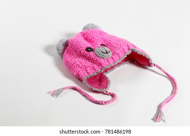 200ed171647 Knitted baby hat isolated on white background