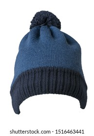 knitted blue hat isolated on white background.hat with pompon front view .