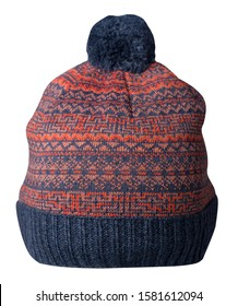 knitted blue orange hat isolated on white background.hat with blue  pompon .