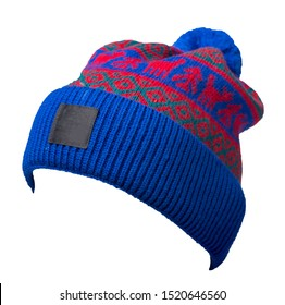 knitted blue red hat isolated on white background.hat with pompon front side view.