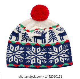 knitted blue red white green hat isolated on white background.hat with red  pompon top front view .