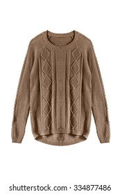 Knitted brown sweater on white background
