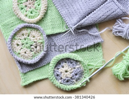 Knitted By Knitting Needles Crochet Samples Stock Photo Edit Now