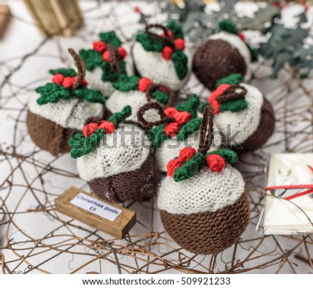 Knitted Christmas Pudding Tree Decorations Sale Stock Photo Edit
