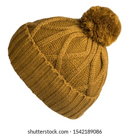 knitted dark yellow  hat isolated on white background.hat with pompon   side view .