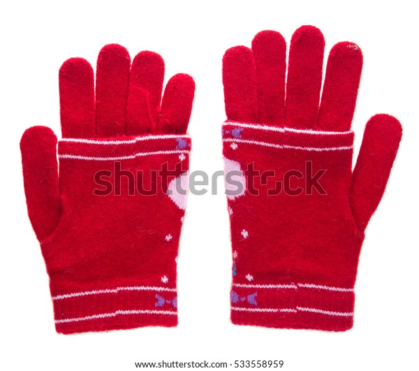 knitted gloves. gloves isolated on white background. gloves a top view.red gloves .