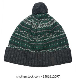 knitted gray green hat isolated on white background.hat with gray pompon .