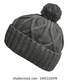 knitted gray hat isolated on white background.hat with gray pompon side view .