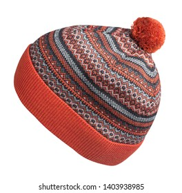knitted hat isolated on white background.hat with pompon side view .