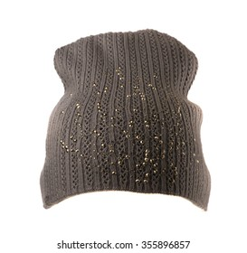 knitted hat isolated on white background .gray.