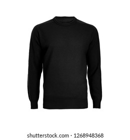 Knitted men's black winter sweater isolated on a white background. Ghost mannequin photography