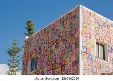 Knitted patchwork house, Puerto de la Cruz, Tenerife Spain