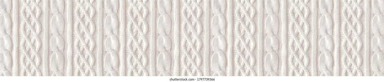 Knitted pattern.  Horizontal ornament. Textile background for banner, site, postcard, wallpaper, skinali