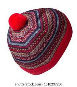 knitted red blue yellow hat isolated on white background.hat with pompon back side view.