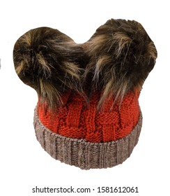 knitted red brown hat isolated on white background.hat with pompon .