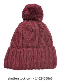 knitted red hat isolated on white background.hat with pompon top front  view .