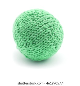 knitted round ball isolated on white background