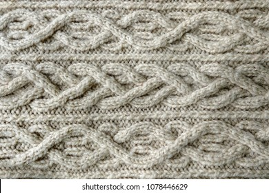 Knitted texture. Pattern fabric made of wool. Background, copy space. Handmade sweater texture, knitted wool pattern, ivory background