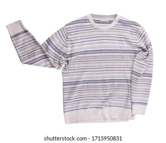 knitted white gray blue sweater   isolated on a white background. men's sweater under the neck top view. Casual style