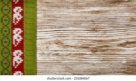 Knitted Wooden Decoration Background, Grain Grunge Wood Board with Woolen Sweater Ornate, Christmas Season Decorative Texture