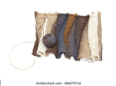 knitting 3d scarf of variefated wool, isolated on white