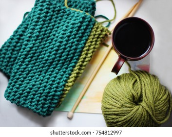 Knitting background, hobby or A cup of tea, Knitting, Warm autumn, winter. Knitted scarf or Sunday morning, Good morning, New day, Sweet november, Sweet winter