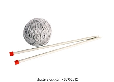 knitting with metal spokes isolated on white background