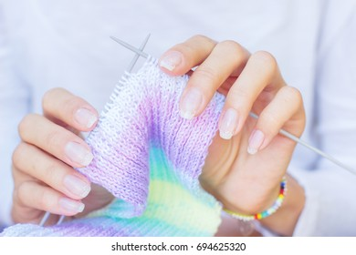 Knitting scarf, details, closeup