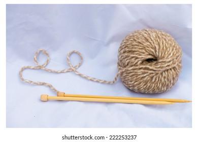 knitting wood with knitting needle