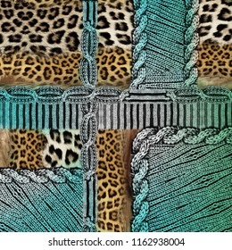 Knitwear Fabric Texture and leopard background