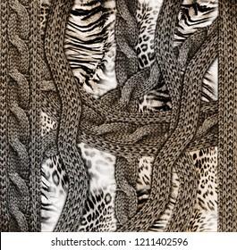 Knitwear leopard skin Fabric Texture