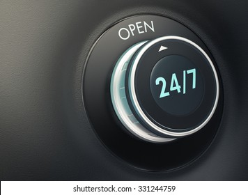 knob with 24/7 text. Arrow pointing to the word: open (3d render)