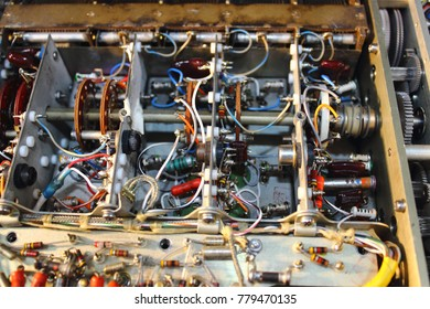 Knob ,capacitor ,transistor ,resistor ,diode and power line in electronics circuit of control unit of Avionics system with maintenance, Navigation system.