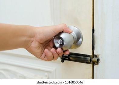 Knob door wooden door White stainless door knob or handle, hand knob hand press lock knob