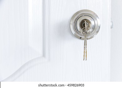 Knob locks with keys on the door