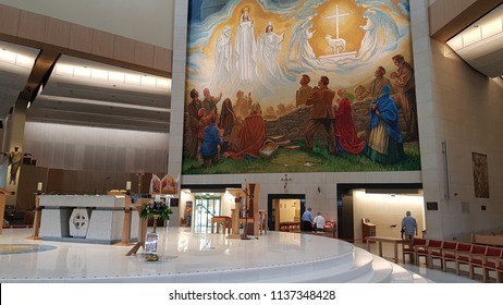 Knock, Mayo, Ireland - July 17th 2018: Ireland's National Marian Shrine in Co Mayo, visited by over 1.5 million people each year, is the site of an Apparition of the Blessed Virgin Mary in 1879.