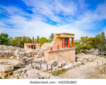Knoss palase on the Crete,Greece. Scenic ruins of the Minoan Palace of Knossos. Detail of ancient ruins of famous Minoan palace of Knossos.