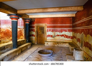 Knossos, Crete, June 10, 2017: Interior of the Minoan Palace of Knossos. Knossos palace is the largest Bronze Age archaeological site on Crete of the Minoan civilization and culture