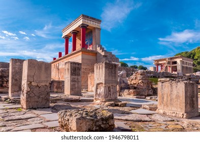 Knossos Greece, January 5 2020-View at the ruins of the famous Minoan palace of Knossos ,the center of the Minoan civilisation and one of the largest archaeological sites in Greece.