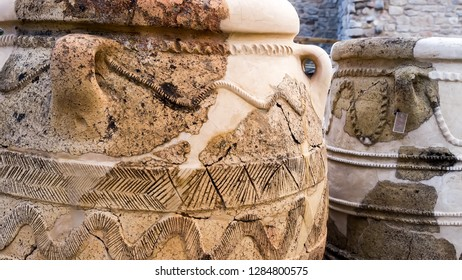 Knossos, Greece - March 2, 2014:Ancient jars in Knossos Palace.Knossos Palace is the largest Bronze Age archaeological site on Crete and the ceremonial and political centre of the Minoan civilization