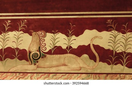 Knossos, Greece - May 12,2007: Griffin couchant, Fresco of Minoan Palace representing a stylized animal, Knossos, Greece