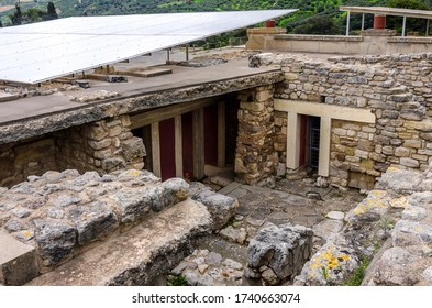 Knossos Palace, Crete / Greece - March 14, 2019: View of the ruins at the archaeological site of Knossos in Heraklion city