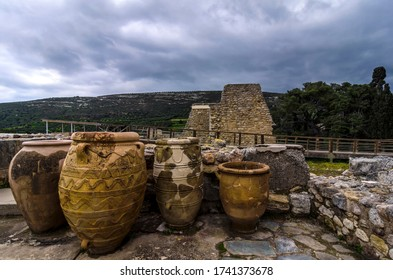 Knossos Palace, Crete / Greece - March 14, 2019: Minoan Pithoi (Pithoi is the Greek name of the large storage containers) at the archaeological site of Knossos in Heraklion city